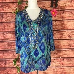 Chico's Tunic Blouse  8 10 1 Blue Green Boho Jewel